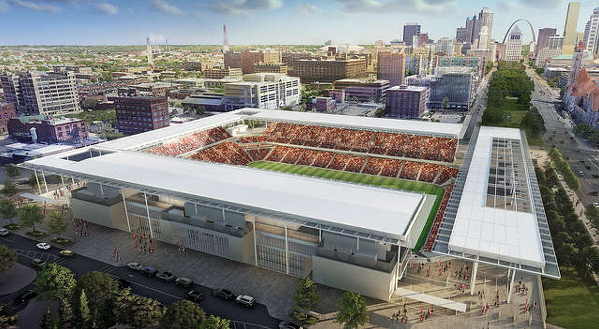 Season ticket sales begin Sept. 14 for St. Louis City SC, the Major League Soccer expansion team set to begin play in 2023. Above is a rendering of the team's stadium being constructed near St. Louis Union Station.
