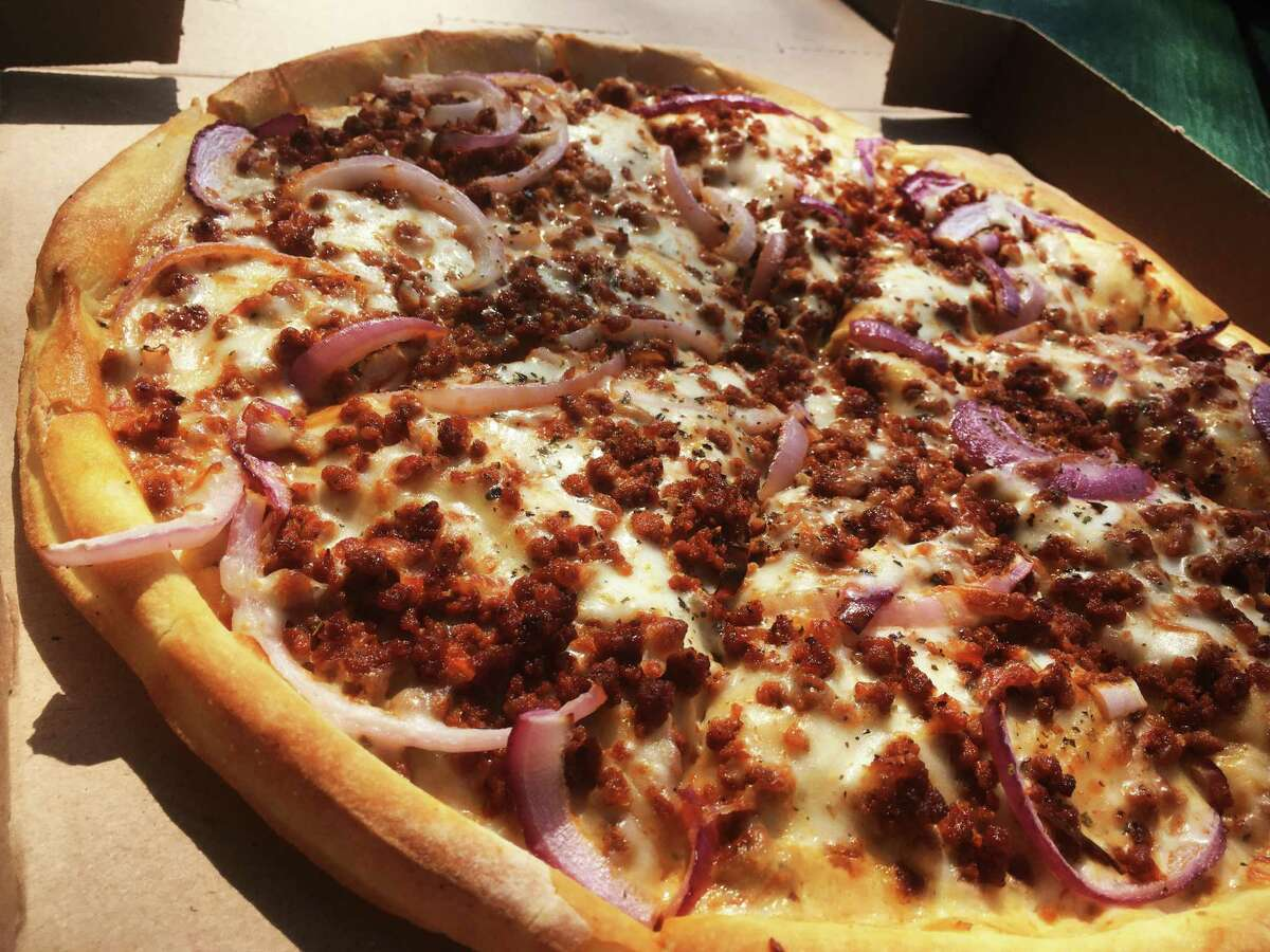 The Choriqueso pizza at Pizza Patrón uses four types of cheeses and spicy chorizo.