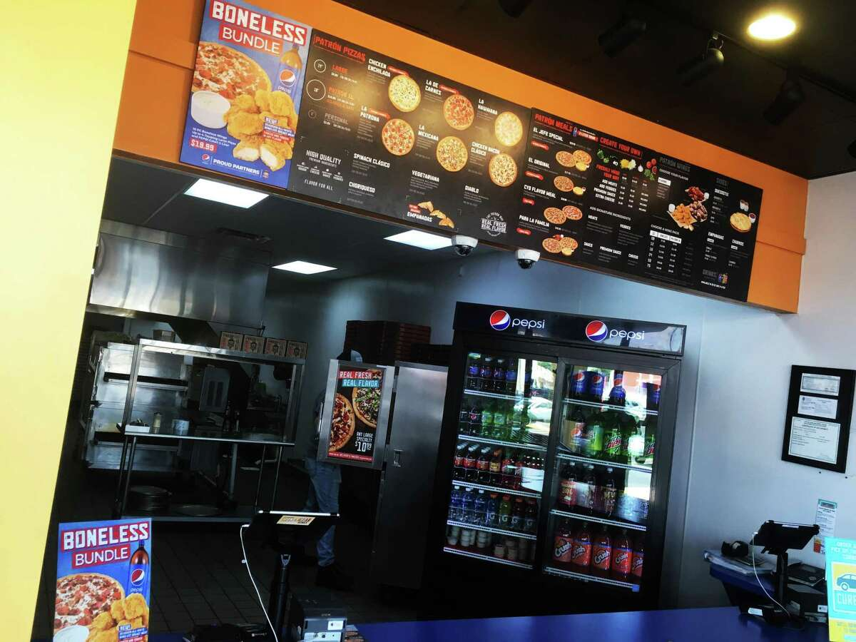 The interior space at Pizza Patrón is built for carryout and delivery with no in-house dining.