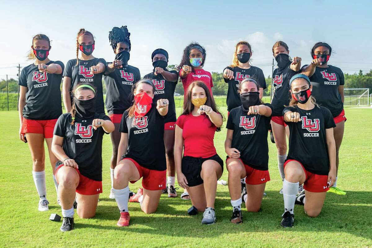 On Wednesday, the Lamar University Women's Soccer team received their Southland Conference championship rings at the university soccer complex. The rings were designed by members of the championship team. Photo made on September 2, 2020. Fran Ruchalski/The Enterprise