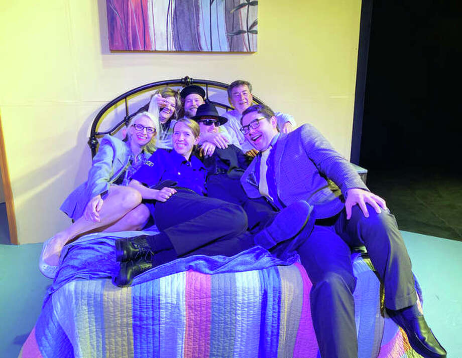 "Alton Little Theater's cast of ""Unnecessary Farce,"" from left rear, Shea Maples, Pat Kulish, Bill Burke and Kelly Hougland, from front left, Tiffani Bowen, Kurtis Leible and Megan Kay. Photo: For The Telegraph"