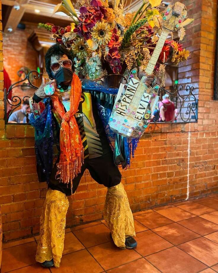 For years, the beloved San Antonio Elvis impersonator has set up an unofficial perch at the Market Square restaurant, always ready for a photo opportunity. The coronavirus pandemic has forced restaurants and residents to make some adjustments in response to mitigating the virus, but the Elvis impersonator is back. Photo: Courtesy, Mi Tierra