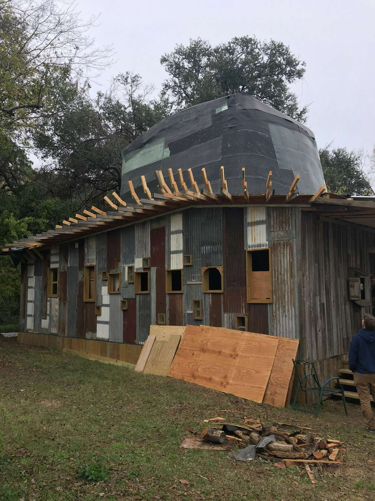 An in-progress look at the Hat House.