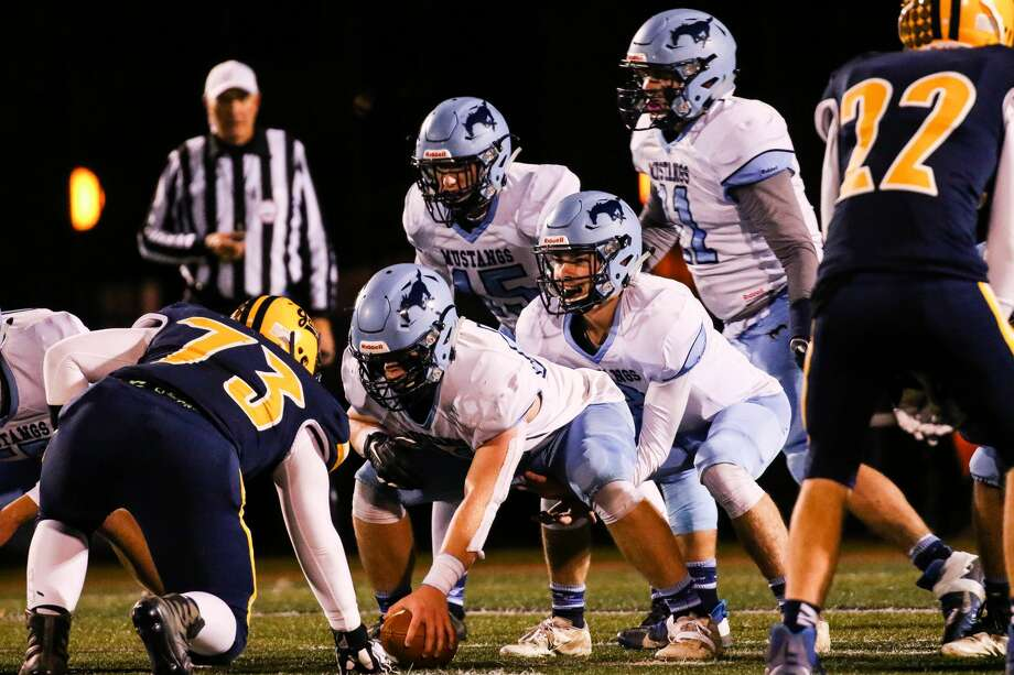 Meridian's offense lines up for a play against Ithaca in a Nov. 1, 2019 district semifinal. Photo: Daily News File Photo