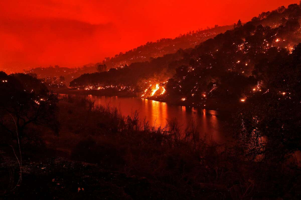 The hillside along Berryessa Knoxville Road in Lake Berryessa, Calif., on Tuesday, August 18, 2020. The area was ravaged by the LNU Lightning Complex Fire.