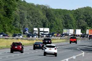 Traffic moves along the I-90 Thruway between exits 25 and 24 on Monday, June 8, 2020, in Guilderland, N.Y. State lawmakers are proposing legislation that would rename the Thruway after Frederick Douglass, the celebrated African American abolitionist leader and intellectual who escaped from slavery. The state road system is currently named after Gov. Thomas Dewey. (Will Waldron/Times Union)