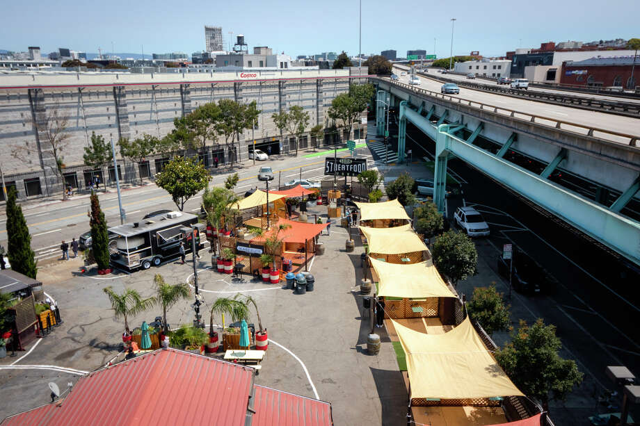 SoMa StrEat Food Park is partnering with local barbers, turning its food truck space into part-barbershop as the city of San Francisco finally allowed outdoor haircuts to start this week. Photo: Courtesy SoMa StrEat Food Park