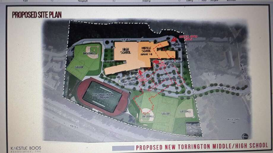 A preliminary drawing of the proposed middle/high school project was part of an online public forum, held Sept. 1 by the Torrington Board of Education. The new building is in yellow, and includes a high school section, a middle school section and an area for central offices. Photo: Emily M. Olson / Hearst Connecticut Media