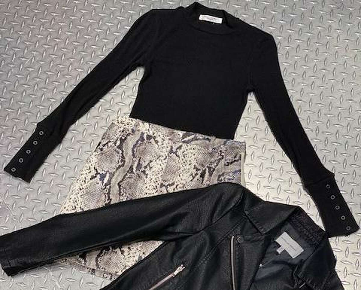 Animal prints, like this snakeskin skirt, pairs with a leather jacket from