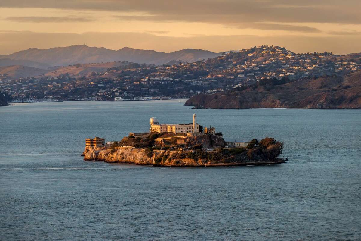Alcatraz, with Angel Island in the background.