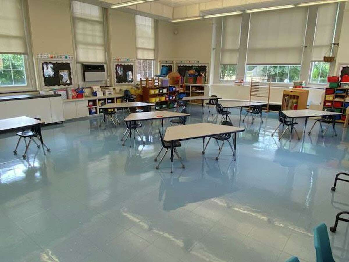A classroom set up for social distancing in Old Greenwich School.