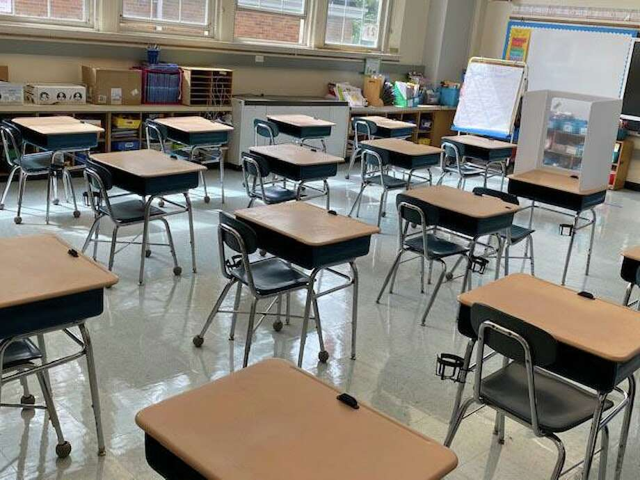 A classroom set up for social distancing in Old Greenwich School. Photo: Greenwich Public Schools
