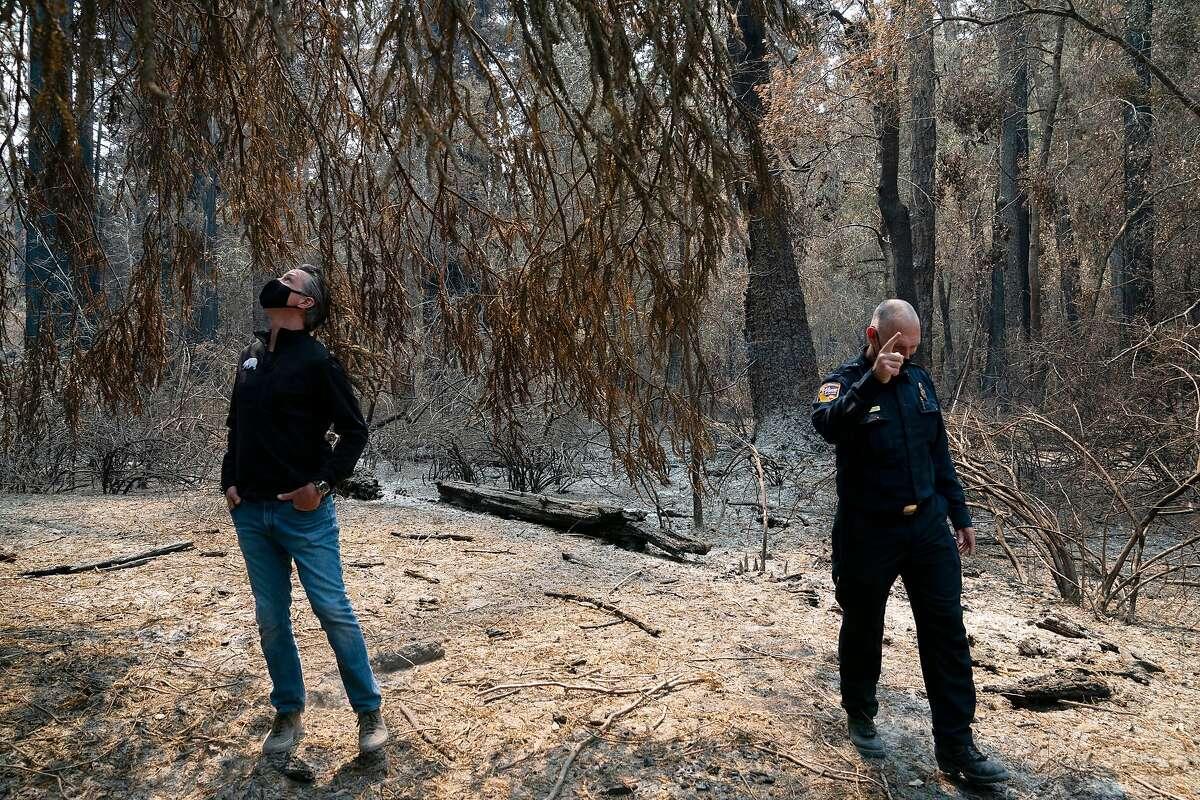 Governor Gavin Newsom, left, tours the fire damage to Big Basin Redwoods State Park on Tuesday, Sept. 1, 2020 in Boulder Creek, Calif.