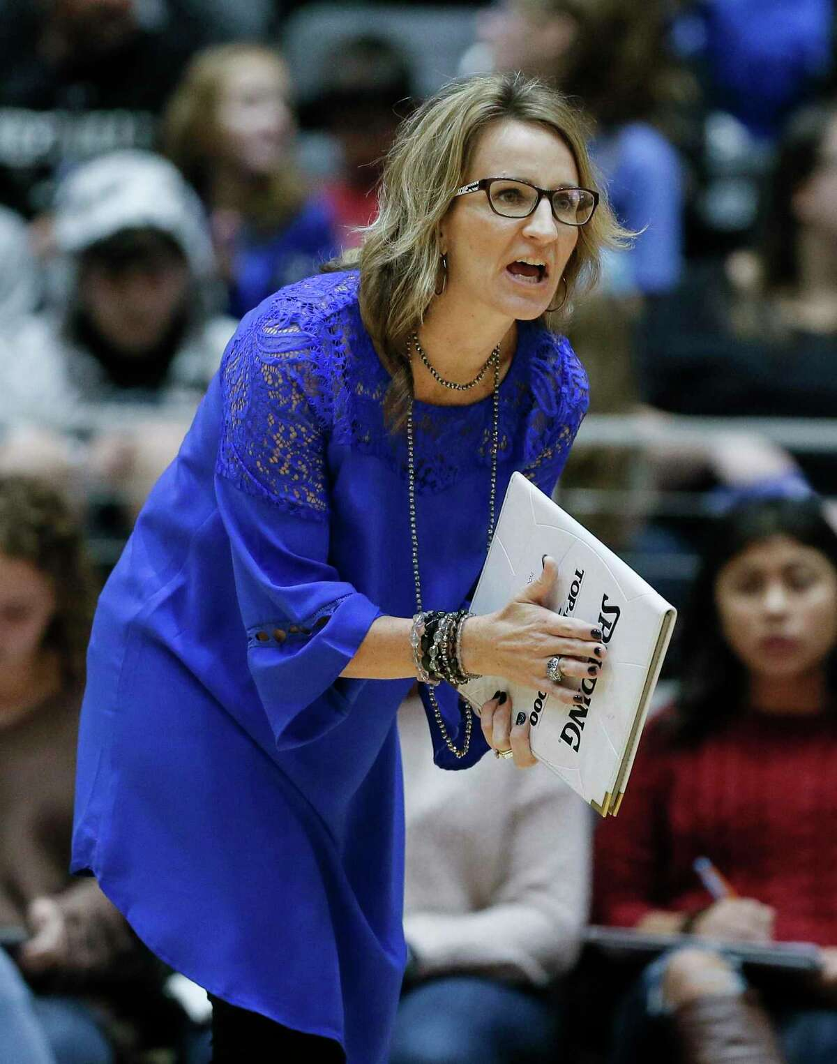 Needville head coach Amy Schultz encourages her team during a 2018 trip t0 state. Needville has raced to the state's top ranking in Class 4A.