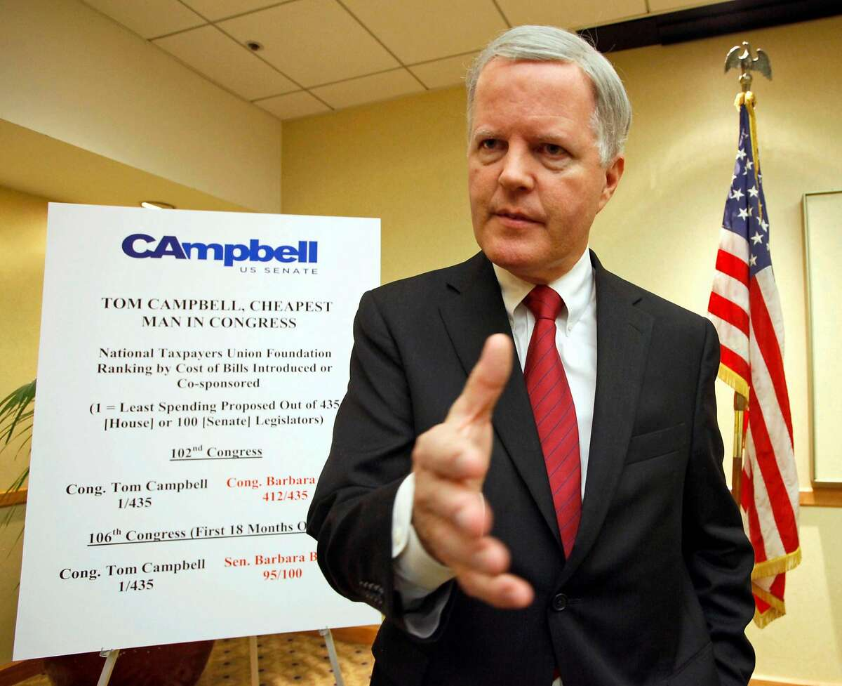 California gubernatorial candidate Tom Campbell announces during a news conference in Los Angeles Thursday, Jan. 14, 2010, that he is withdrawing from the governor's race and entering California's U.S. Senate race. ~~