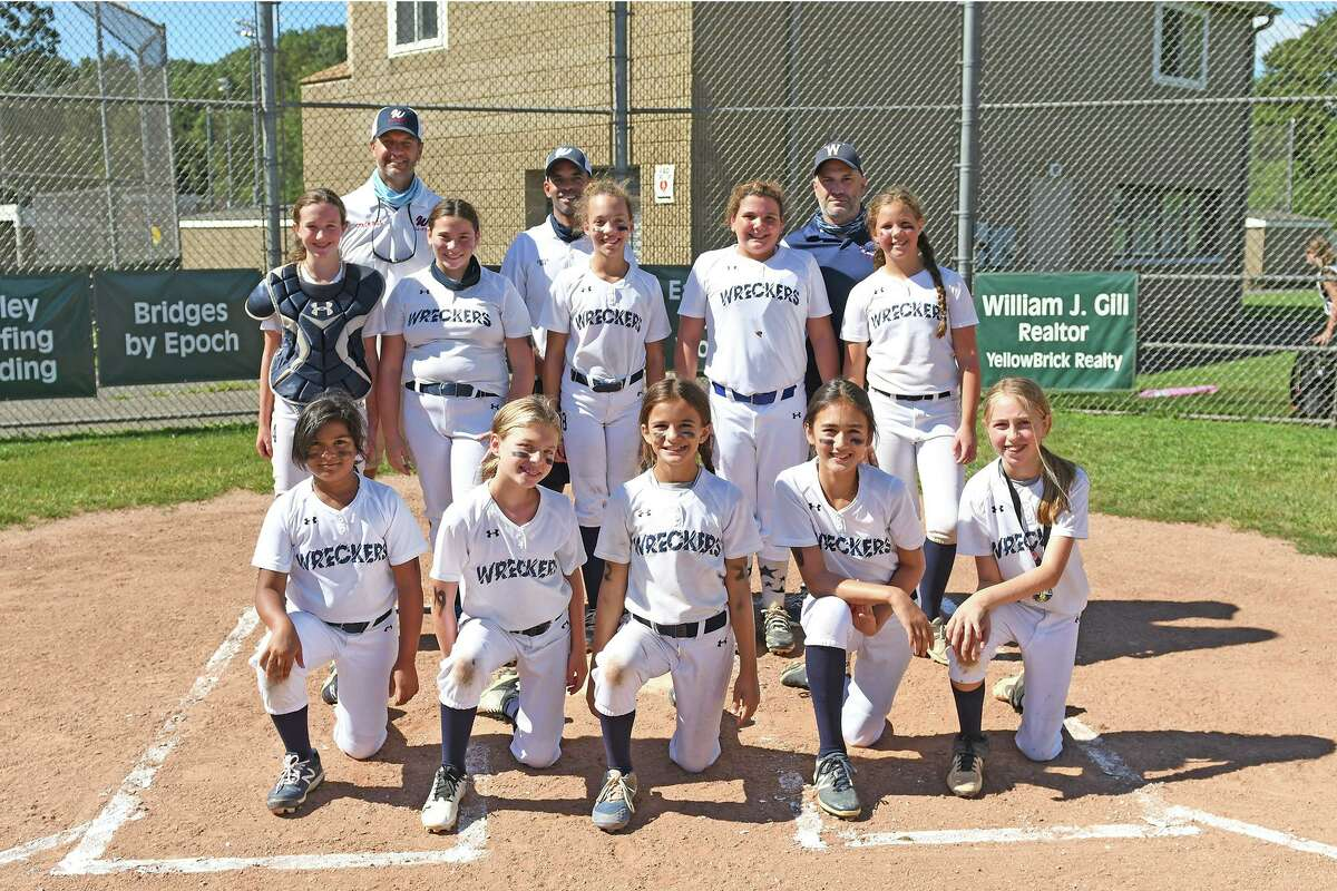 The Westport 10s Little League Softball All-Stars made it to the 2020 District 2 championship game, scoring 62 runs in five games before falling to Fairfield in the championship game. Team members are, front row, from left, Katie Beirne, Kasey Sklar, Daisy Hackett, Emilie Russell, and Avery Kalter; middle row, from left, Addie Dennett, Kate Petro, Julia Simmeljkaer, Makayla Hein and Cora Barrett, and back row, from left, coaches Bill Hackett, Rob Simmeljkaer, and Kevin Russell.
