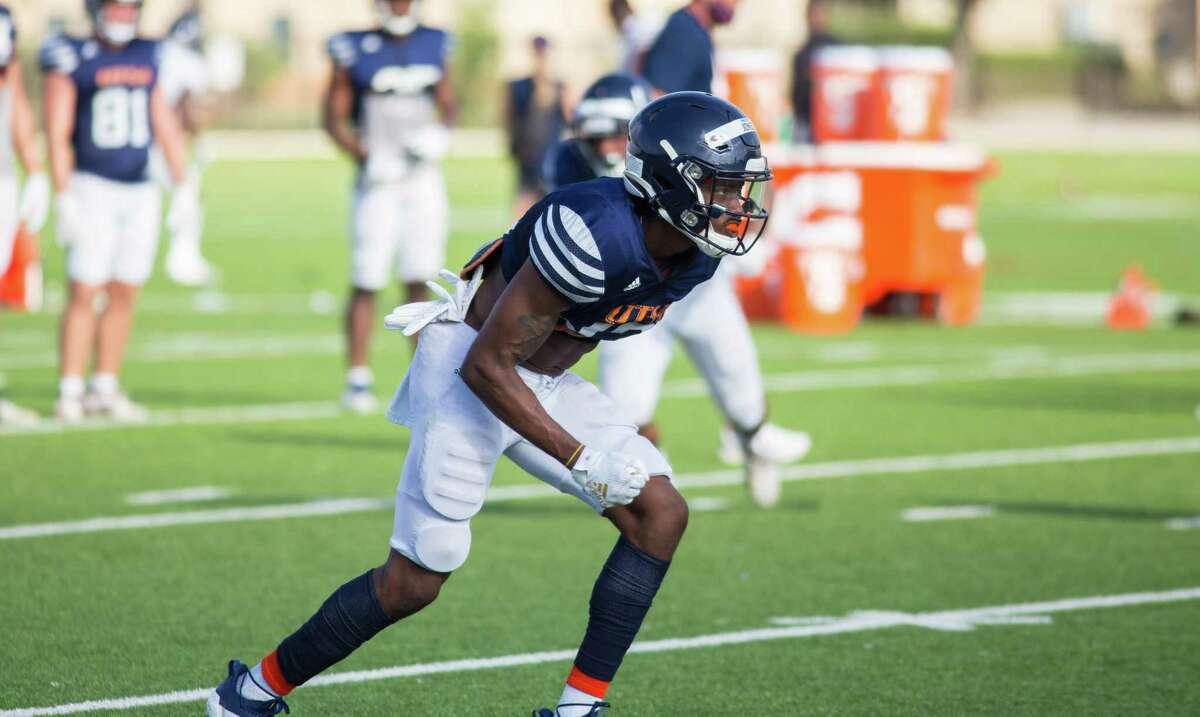 UTSA wide receiver Sheldon Jones lines up to run a drill during practice on UTSA's campus in San Antonio.