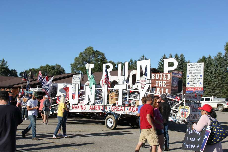 The Trump Unity Bridge arrived at the Franklin Inn in Bad Axe and Wednesday evening, with various local Republican candidates, politicians, and supporters appearing and speaking. There were also protesters out front of the Franklin Inn with anti-Trump signs. Photo: Robert Creenan/Huron Daily Tribune