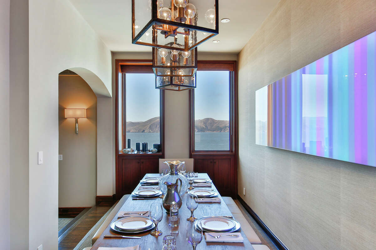 The formal dining room and its iconic San Francisco view.