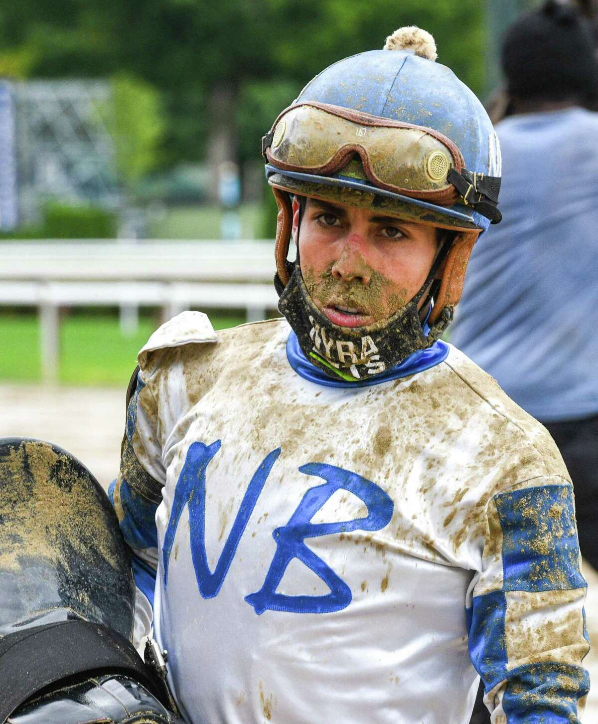 Jockey Irad Ortiz, Jr. wearing some mud after the eighth race on Wednesday, Sept. 2, 2020, at Saratoga Race Course in Saratoga Springs, N.Y. (Mike Kane/Special to the Times Union)