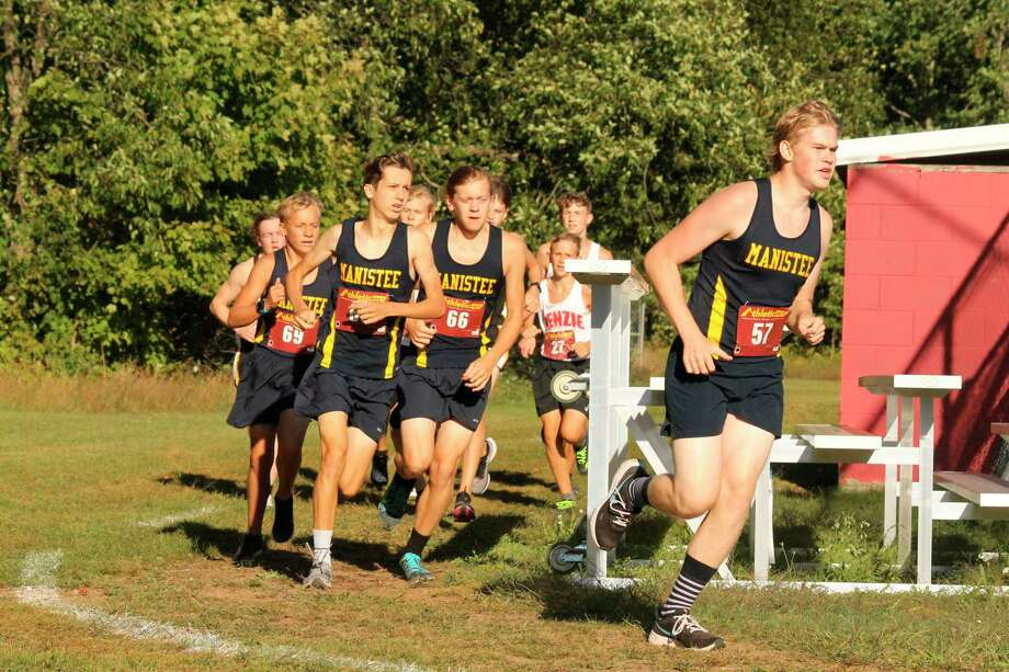 Members of the Manistee boys cross country team compete at Benzie Central on Sept. 2. (Photo/Robert Myers)