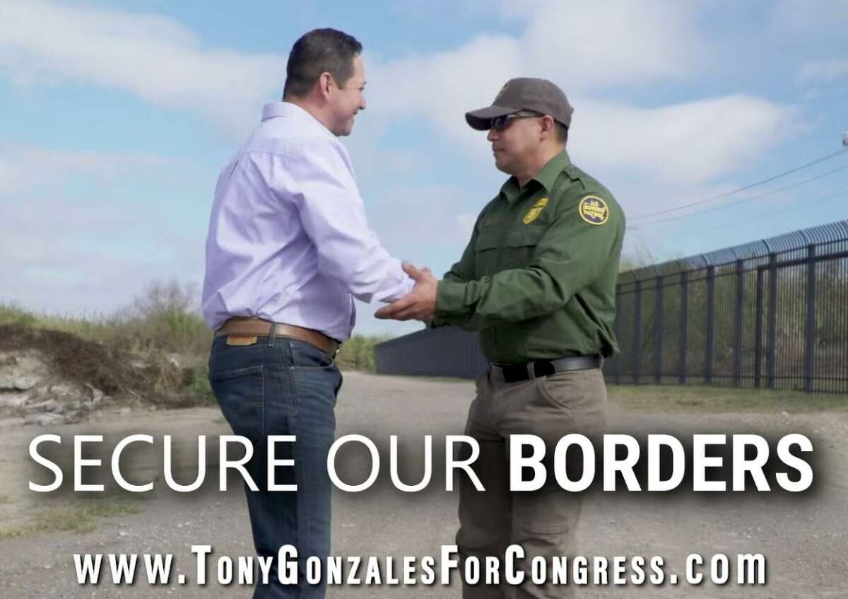 Congressional candidate Tony Gonzales, running to represent a district that includes 800 miles of the Mexican border, talks to a campaign volunteer dressed up as a U.S. Border Patrol agent for a campaign ad that circulated during his Republican primary race.