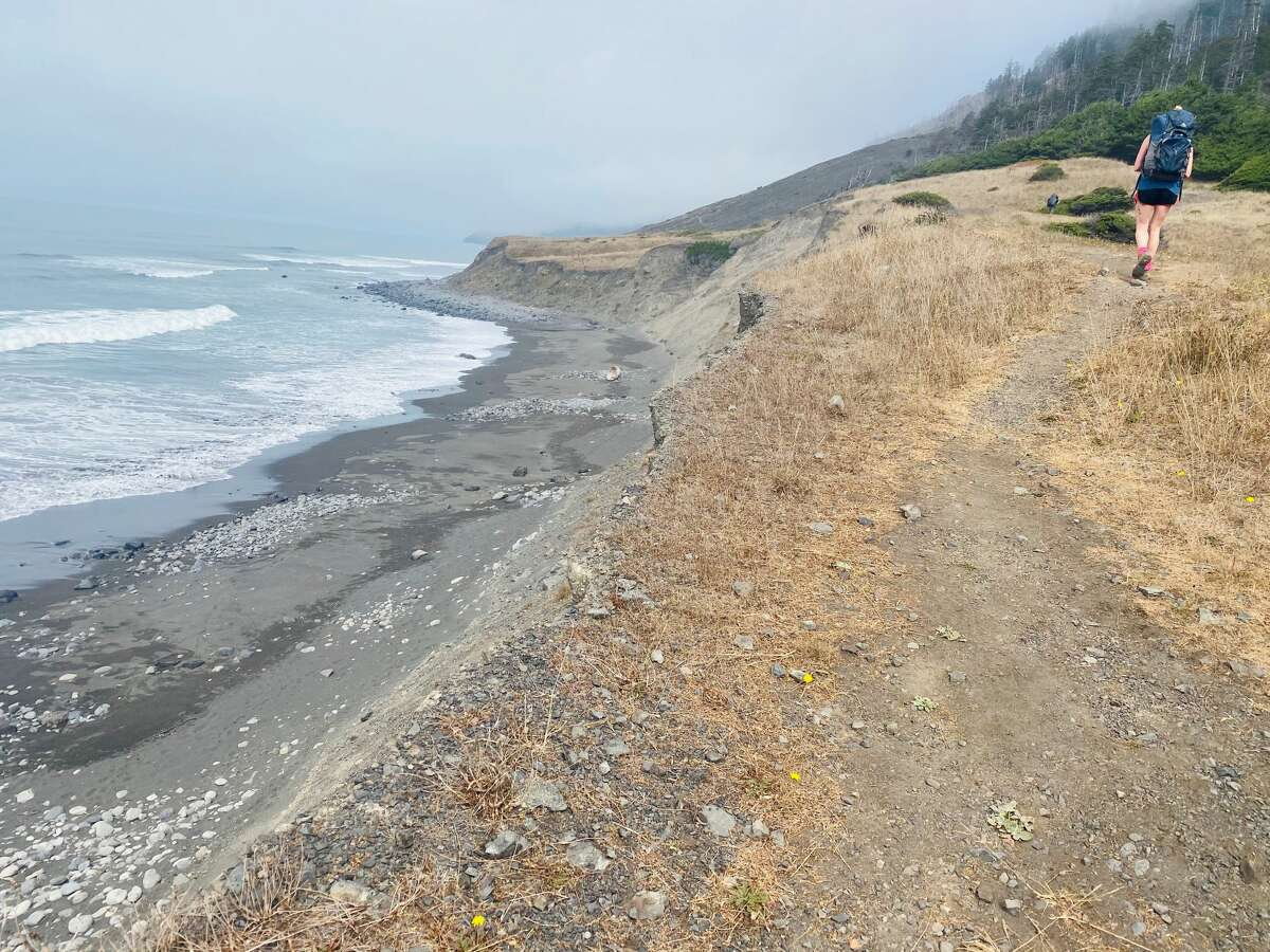 Hiking on the bluff on the Lost Coast Trail.