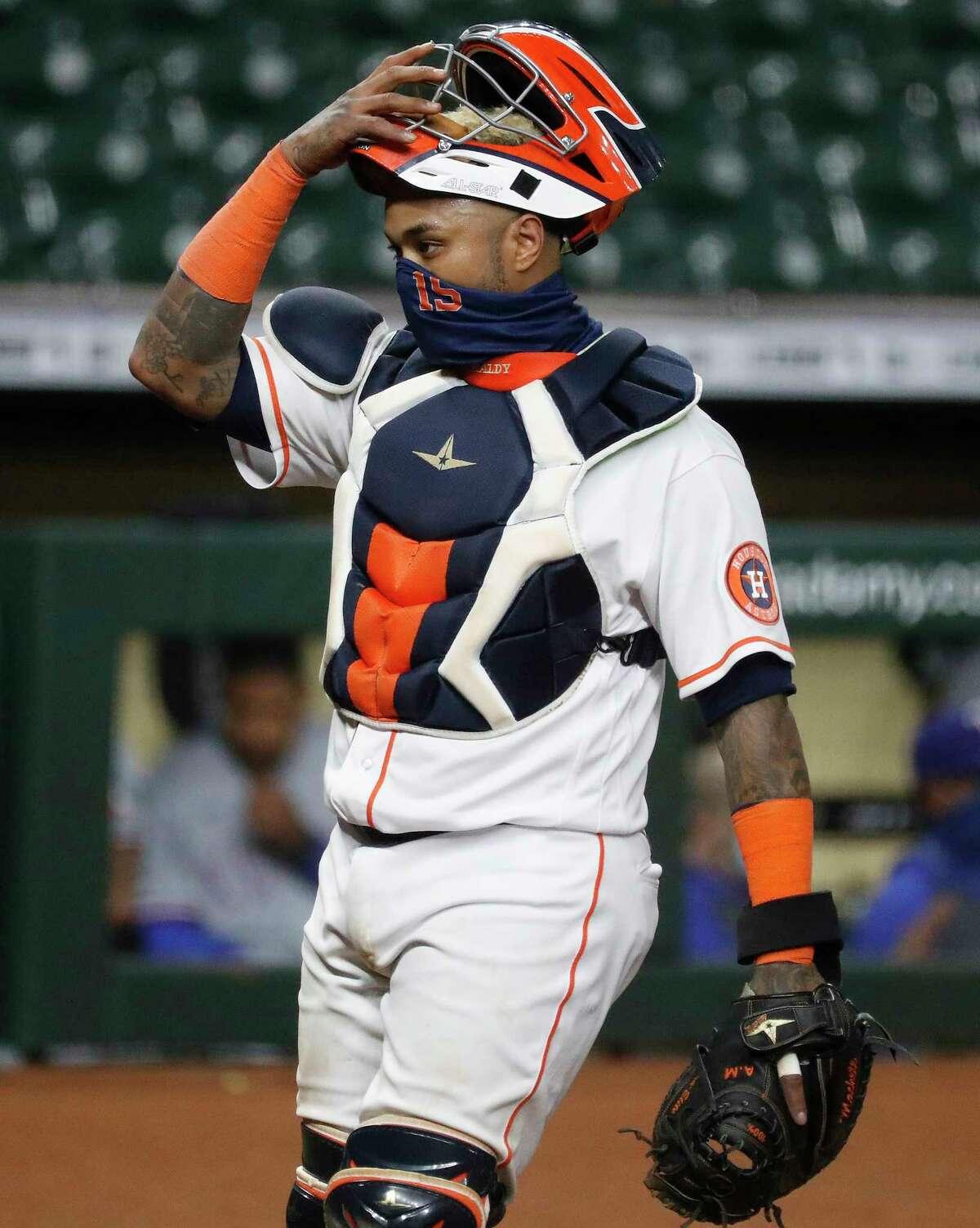 Houston Astros catcher Martin Maldonado (15) during the ninth inning of an MLB baseball game at Minute Maid Park, Wednesday, September 2, 2020, in Houston.