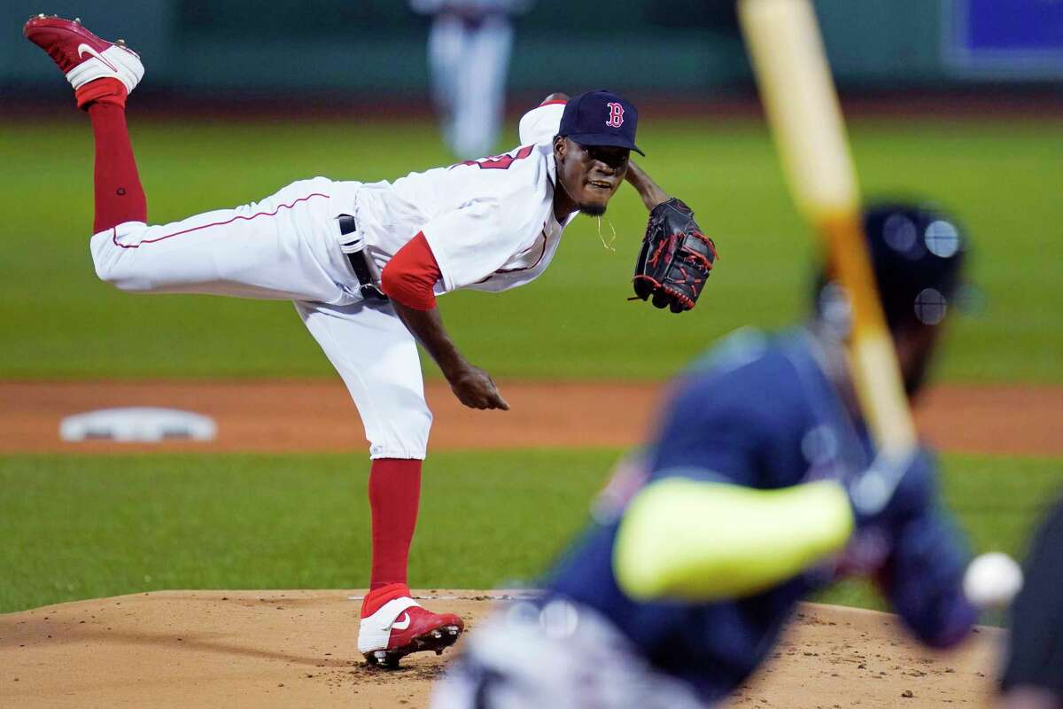Boston Red Sox starting pitcher Robinson Leyer delivers during the first inning of the team's baseball game against the Atlanta Braves, Wednesday Sept. 2, 2020, in Boston. (AP Photo/Charles Krupa)