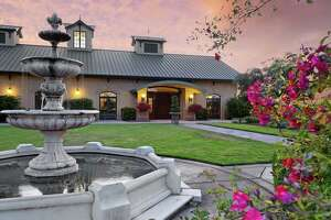 The contemporary architecture at Berghold Vineyards is surrounded by ornate iron gates, wedding cake fountains, sculptures and brilliant flower gardens.