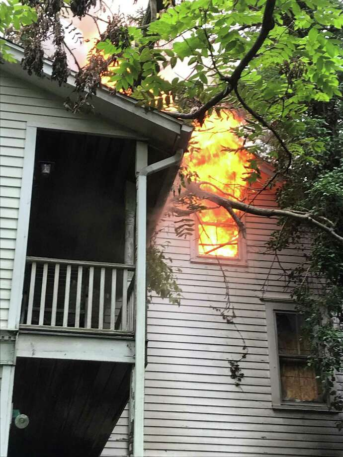 A fire at a vacant Strawberry Hill Avenue home in Norwalk, Conn., on Wednesday, Sept. 2, 2020. Photo: Contributed Photo / Norwalk Fire Department