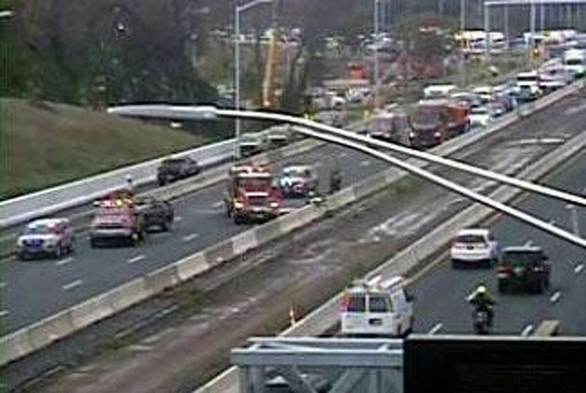A CTDOT camera showing traffic backed up in the area of a crash on I-91 north in Hartford, Conn., on Thursday, Sept. 3, 2020.