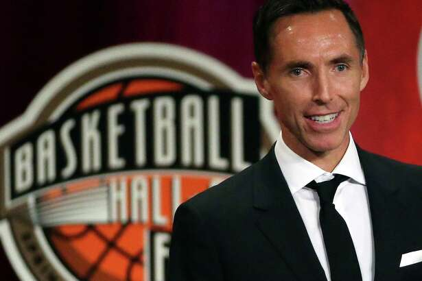 FILE - In this Sept. 7, 2018, file photo, Steve Nash speaks during induction ceremonies at the Basketball Hall of Fame, in Springfield, Mass. Nash is about to take on an expanded role in his second year with Turner Sports. The network announced on Tuesday, Aug. 6, 2019, that Nash is returning to B/R Football's UEFA Champions League broadcasts on TNT and B/R Live. He will also be a contributor to TNT's NBA coverage when the upcoming season begins in October. (AP Photo/Elise Amendola, File)