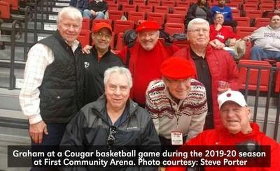 Larry Graham, pictured front left, continued to support the Cougars after he retired from coaching. Photo: Steve Porter|For The Intelligencer