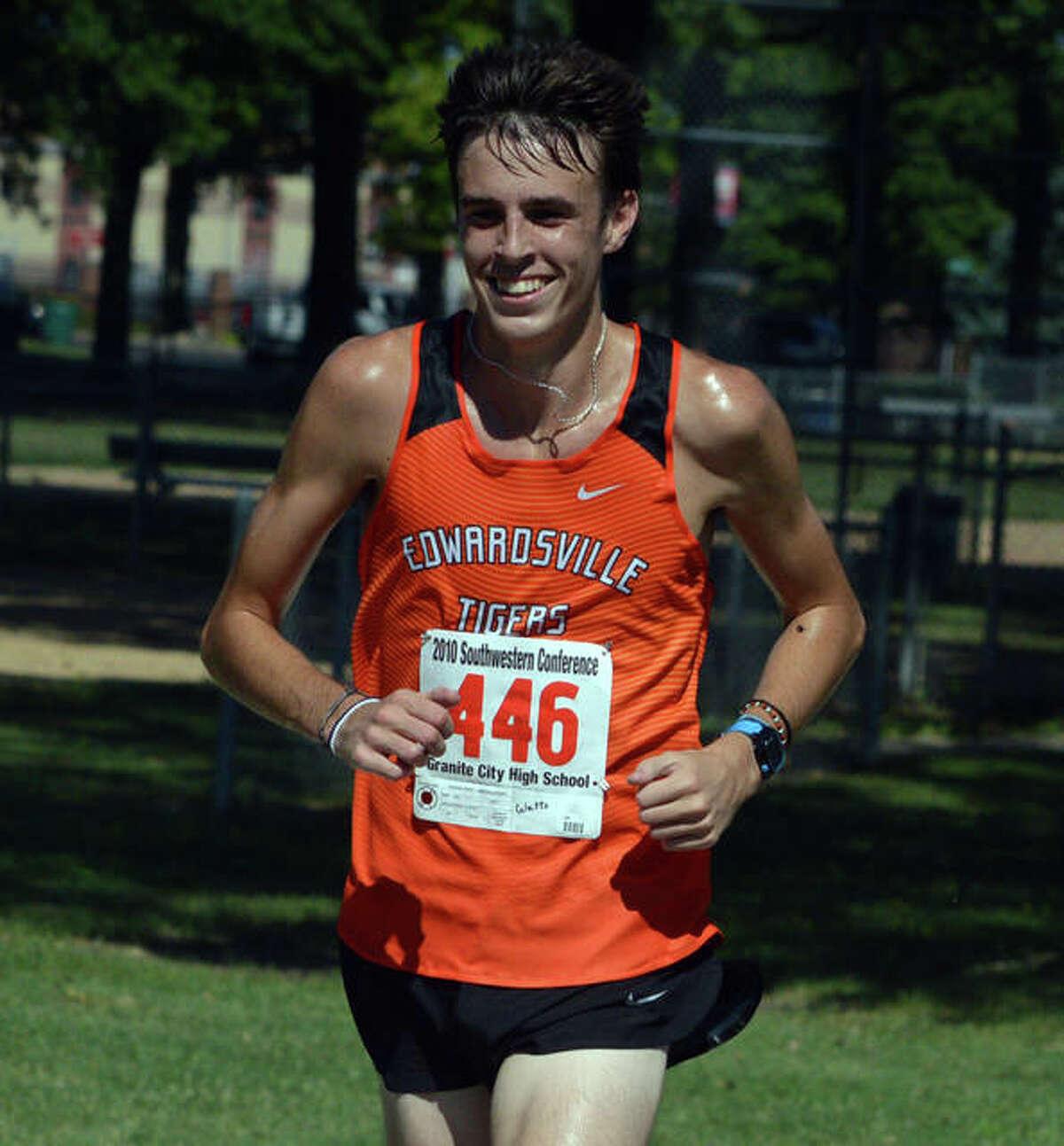 Edwardsville's Ryan Watts runs in a season-opening dual meet on Aug. 28 at Granite City.
