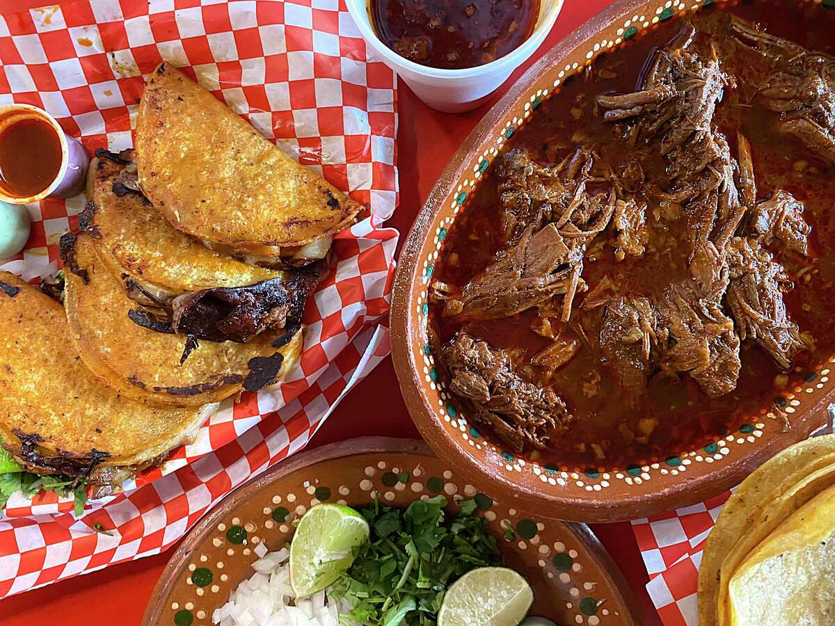 Birria options include beef tacos with cheese and consomme and beef birria stew at Birotes Tortas Ahogadas, one of a wave of San Antonio restaurants specializing in tacos and other dishes made with the spicy Mexican stew meat called birria.