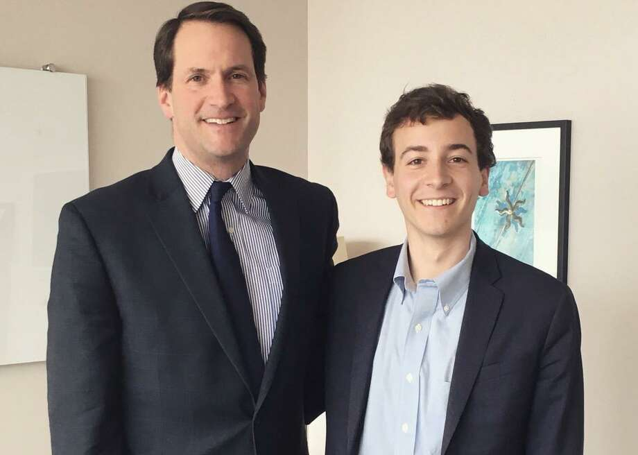 Will Haskell, right, who is running for reelection to the state Senate, has been endorsed by Congressman Jim Himes, left, and Planned Parenthood. Photo: Contributed Photo / Will Haskell / Wilton Bulletin Contributed