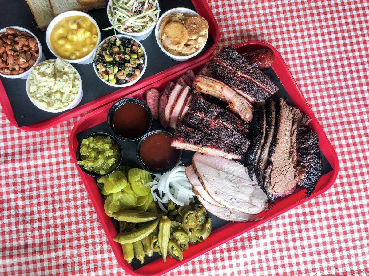 Brisket, turkey, pork ribs, ham and sausage with sides of beans, potato salad, macaroni and cheese, Texas caviar, coleslaw and banana pudding at Dozier's BBQ in Fulshear