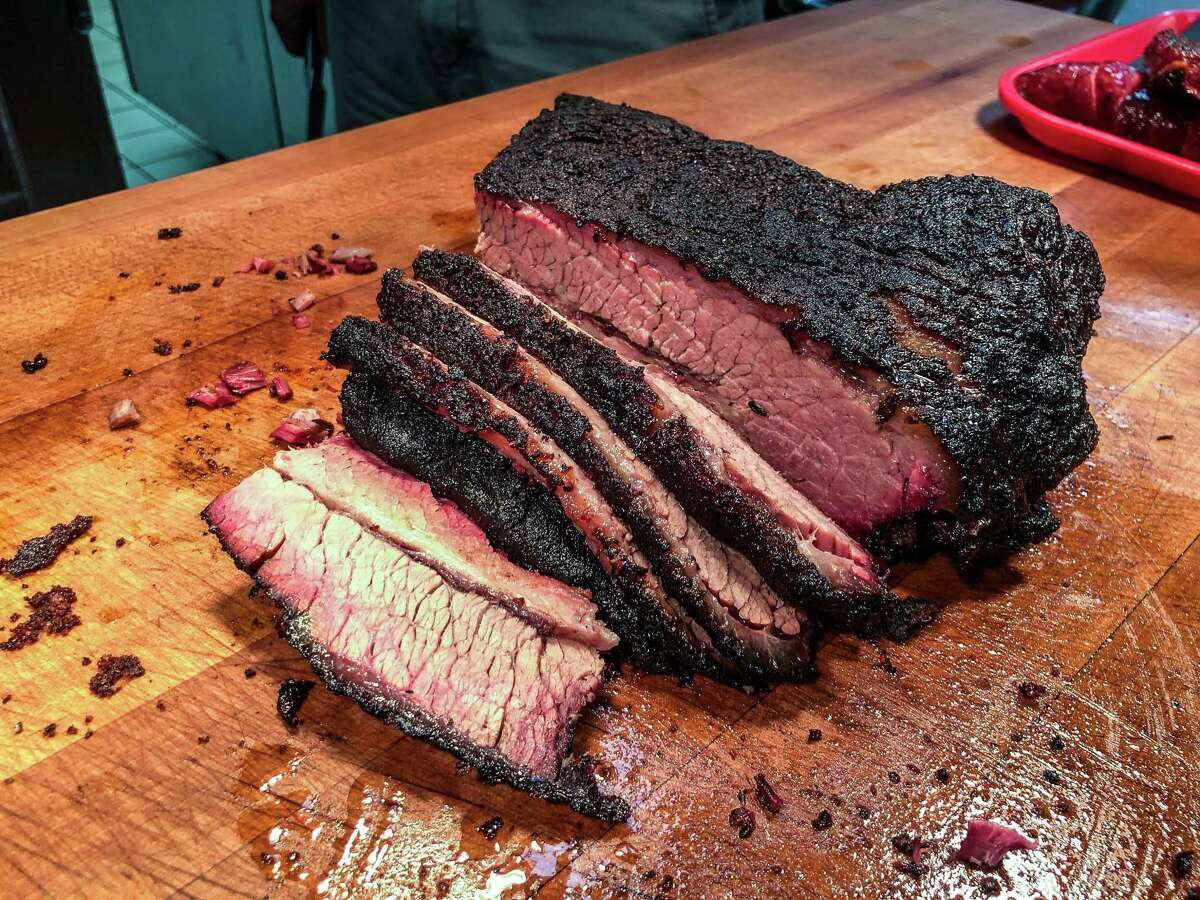 Brisket on the chopping block at Dozier's BBQ