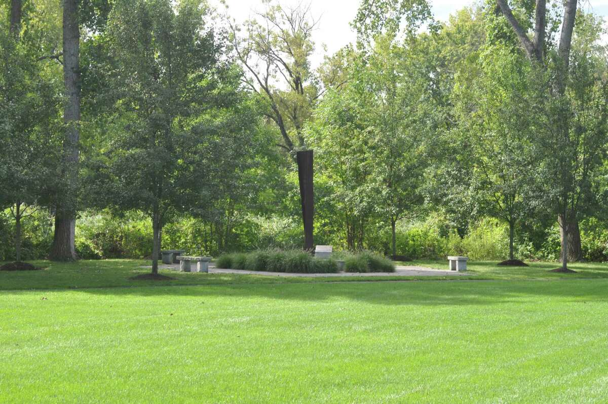 The 9/11 memorial on the Ridgefield Recreation Center property off Danbury Road centers on a beam of steel from the World Trade Center towers brought down by terrorists on Sept. 11, 2001.