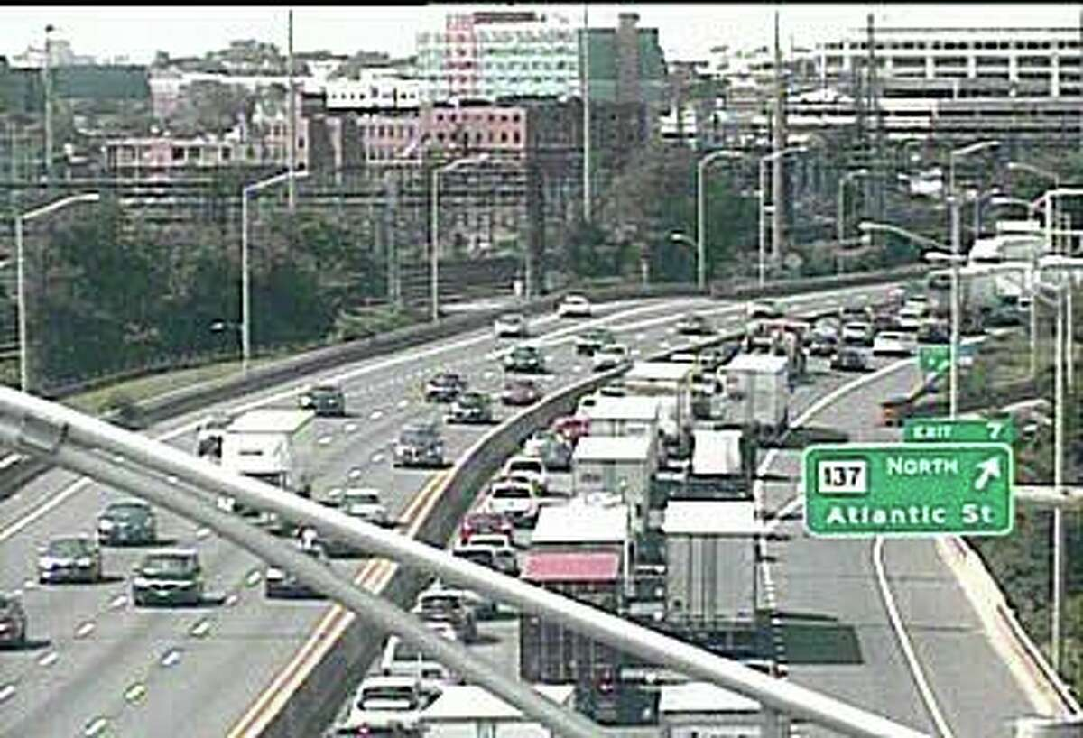 Southbound traffic is slow after a truck accident on Thursday, Sept. 3, 2020. The crash, reported at 11:37 a.m. has closed the left lane between Exits 7 and 6 in Stamford.