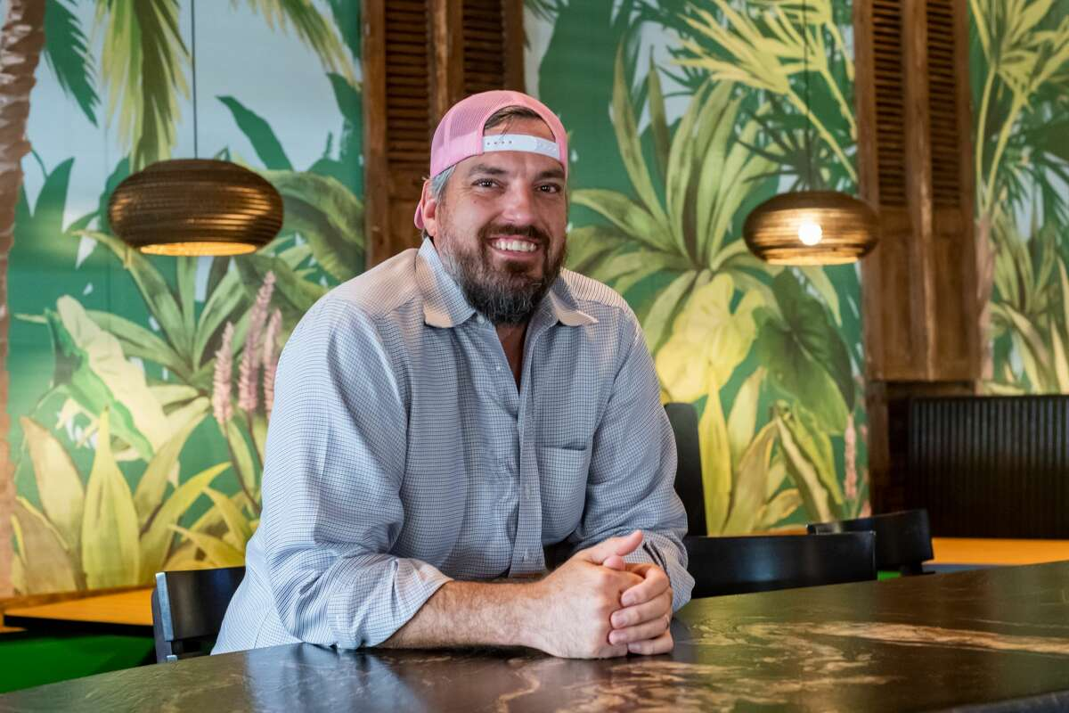 John Wilson sits at the bar of his new restaurant. JW's Patio is the new restaurant/bar developed by John Wilson at 6420 Phelan Boulevard in Beaumont. It is a Mediterranean-inspired eatery with a focus on fun outside dining. Photo made on September 2, 2020. Fran Ruchalski/The Enterprise