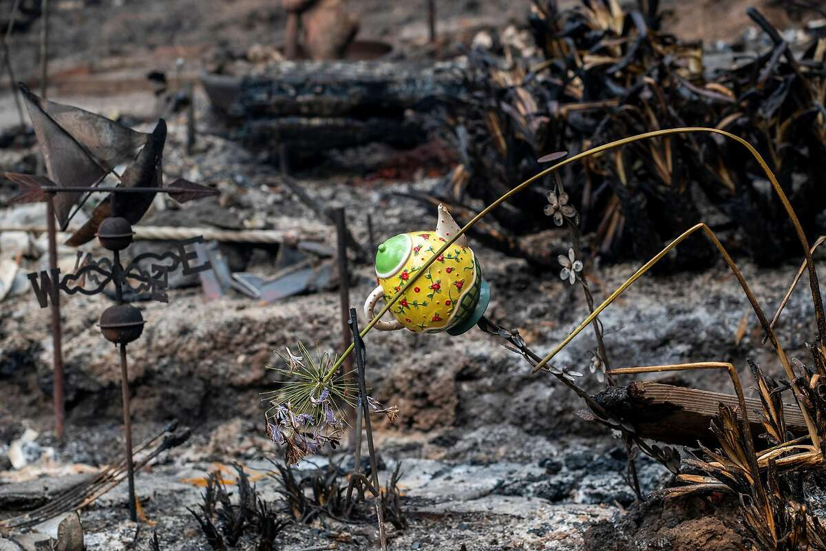 The remains of a home destroyed by the CZU Lightning Complex Fire on Madrone Avenue near Boulder Creek, Calif. on Aug., 23, 2020.
