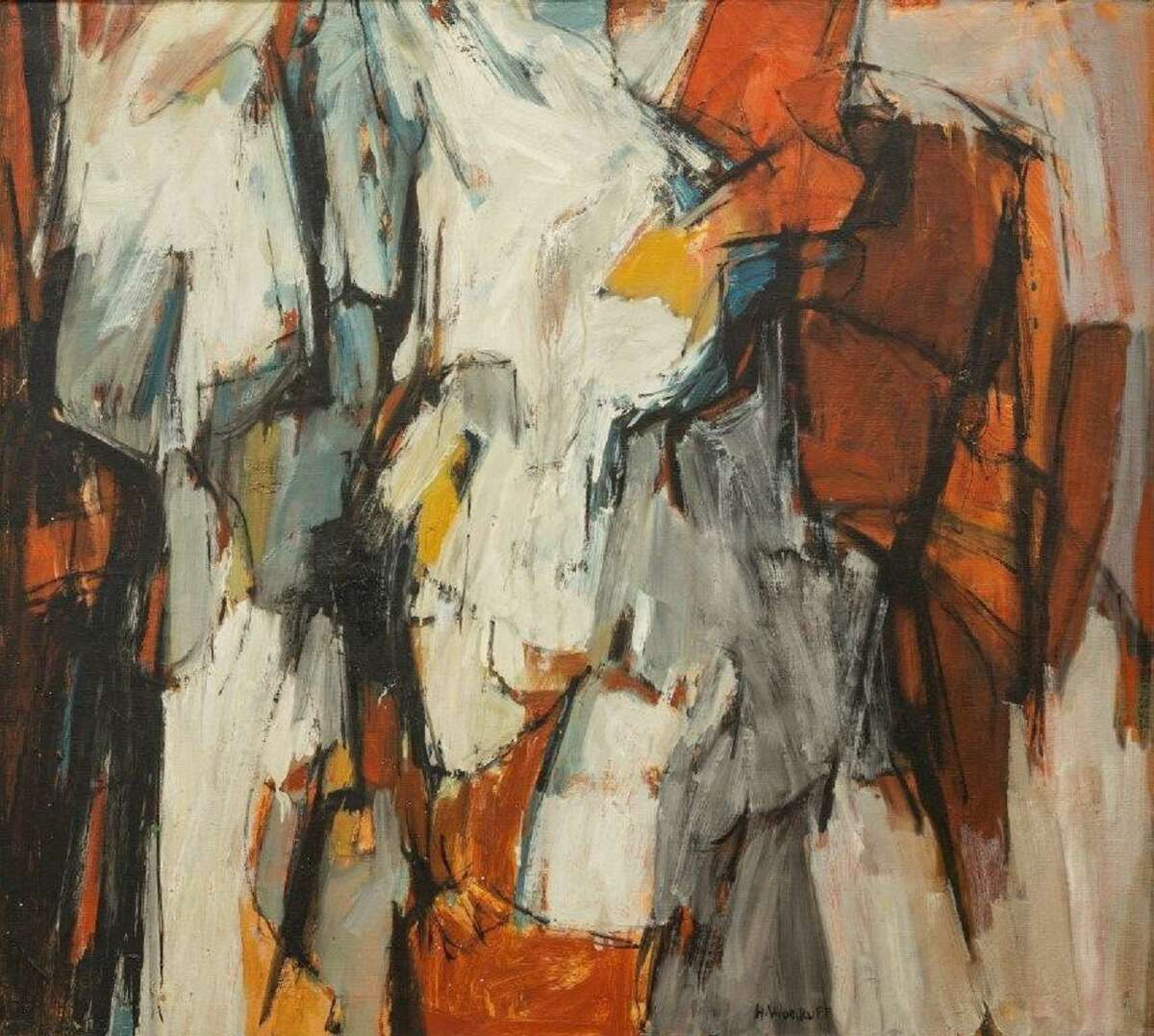 Hale Woodruff's Two Figures Abstraction, 1958. Oil on canvas.