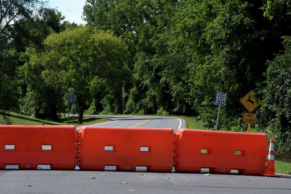 Access to Rapp Road is blocked at Crossgates Mall Road on Thursday, Sept. 3, 2020, in Guilderland, N.Y. The City of Albany and town of Guilderland are struggling to find a solution to potential traffic issues around new developments, including proposals for a 222-unit residential complex and a Costco Wholesale. (Will Waldron/Times Union)