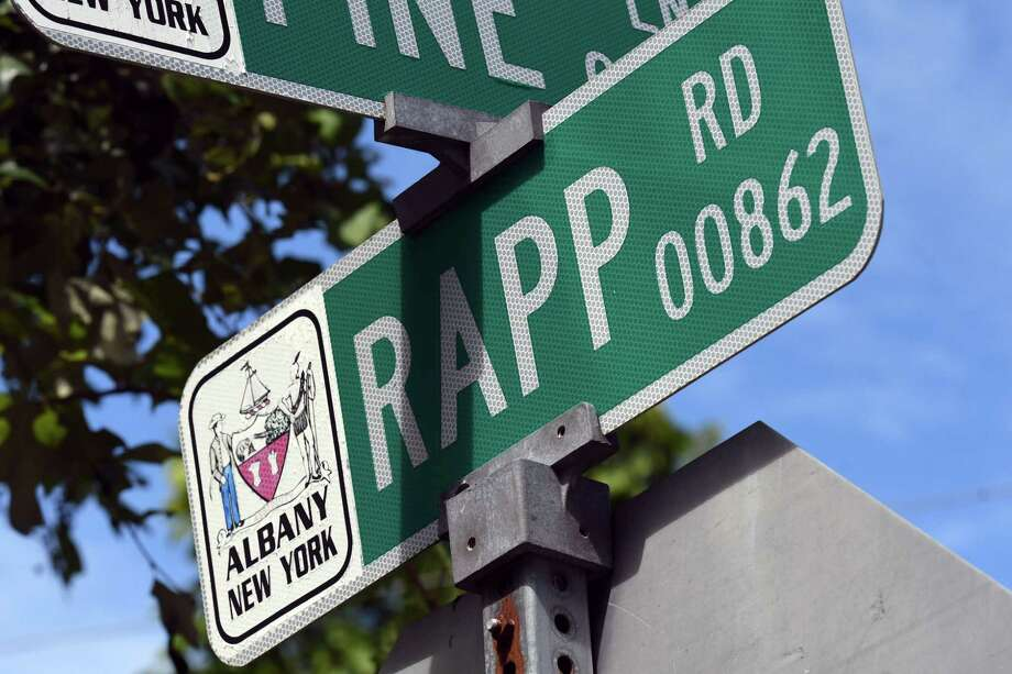 Road sign at Rapp Road Pine Lane on Thursday, Sept. 3, 2020, in Albany, N.Y. The City of Albany and town of Guilderland are struggling to find a solution to potential traffic issues around new developments, including  proposals for a 222-unit residential complex and a Costco Wholesale. (Will Waldron/Times Union) Photo: Will Waldron, Albany Times Union
