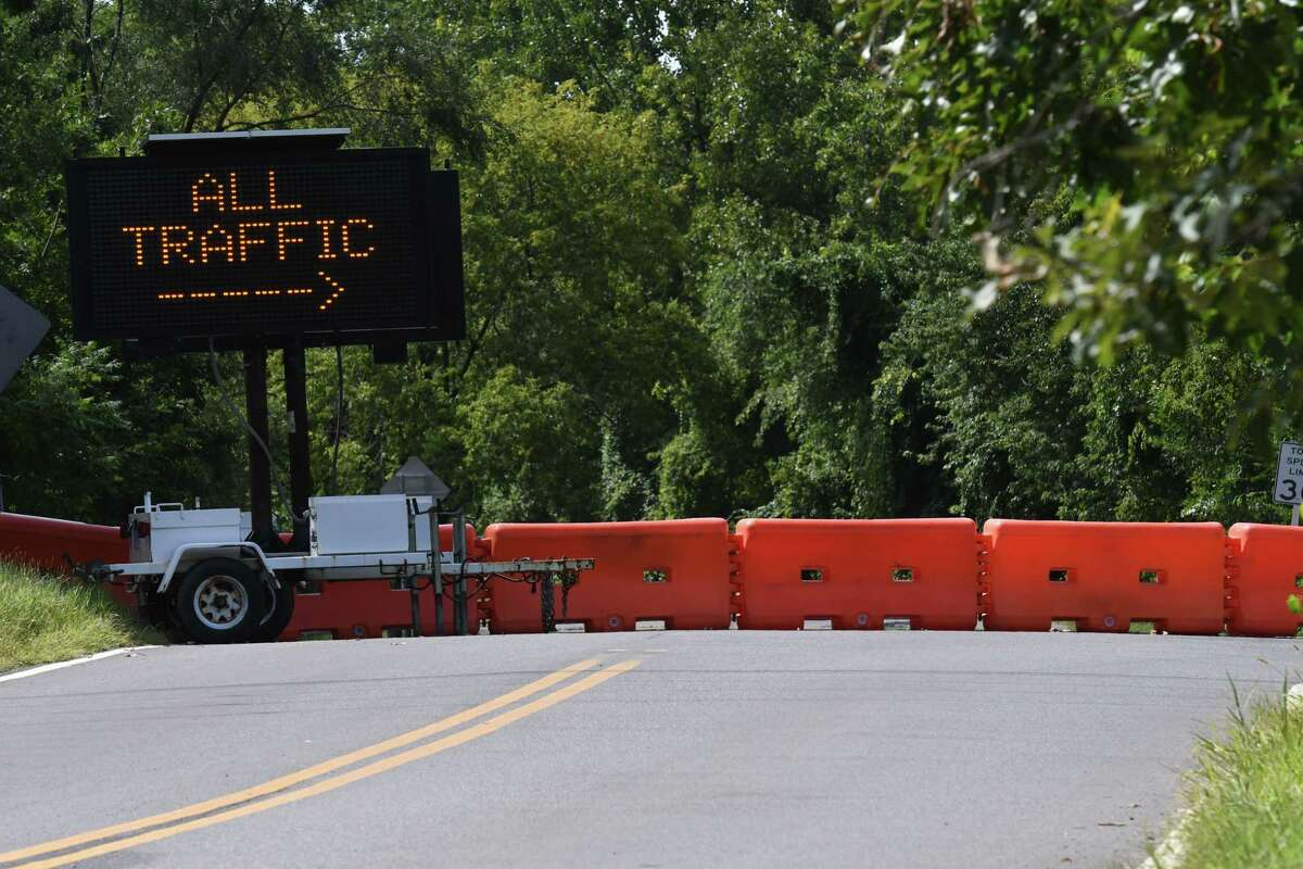 Access to Rapp Road is blocked at Gipp Road on Thursday, Sept. 3, 2020, in Albany, N.Y. The City of Albany and town of Guilderland are struggling to find a solution to potential traffic issues around new developments, including proposals for a 222-unit residential complex and a Costco Wholesale. (Will Waldron/Times Union)