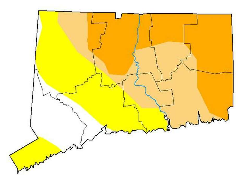 This map shows dry and drought conditions in Connecticut as of Sept. 1, 2020. The darkest shade of color shows severe drought conditions. Light brown areas show moderate drought conditions. Yellow shows abnormally dry conditions and the area in white shows no dry conditions. Photo: U.S. Drought Monitor
