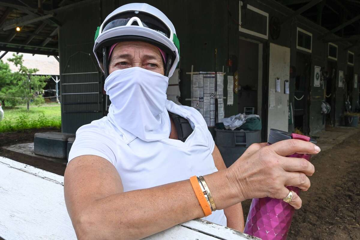 Tiz the Law?•s assistant trainer, Robin Smullen is interviewed at the barn on Thursday, Sept. 3, 2020, at Saratoga Race Course in Saratoga Springs, N.Y. (Mike Kane/Special to the Times Union)