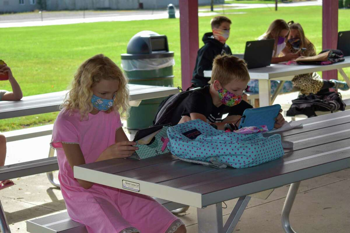 Laker students and parents attended the launch to demonstrate how they may use the free service for remote learning purposes. (Paige Withey/Huron Daily Tribune)